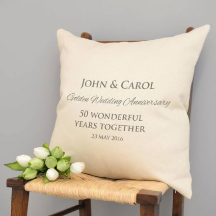 Personalised Golden Wedding Anniversary Cushion